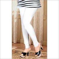 Plain Cotton Lycra White Leggings