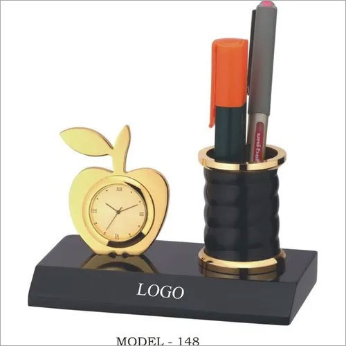 Gold Plated Clock with Pen Stand