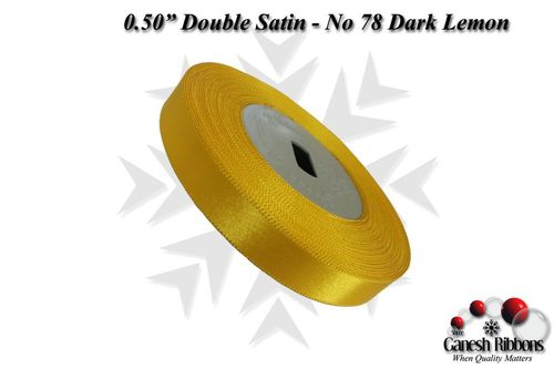 Double Satin Ribbons - Dark Lemon