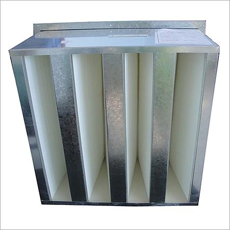 Aluminium V bank filter with header