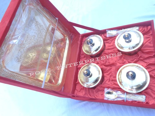 Brass Gift Utensil set Tray & pots with Spoons