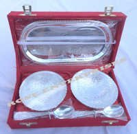Brass Utensil Set Tray & Bowls With Spoons (Silver Color)