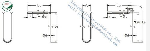 L bent MoSi2 heating elements