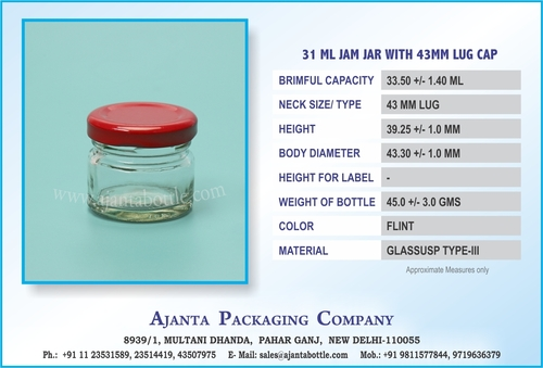 31 ML JAM JAR WITH 43MM LUG CAP