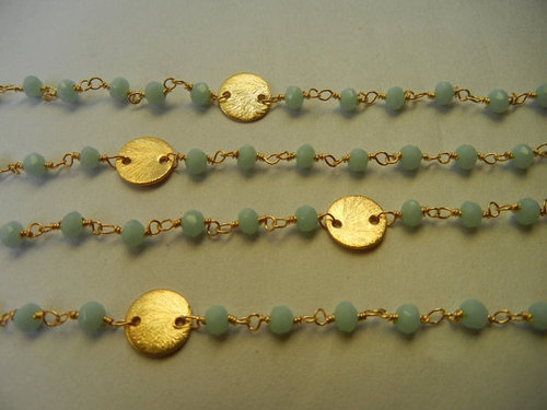 Amezonite Gold Plated Sterling Silver Beaded Chain with Silver Disks Sell per Meter