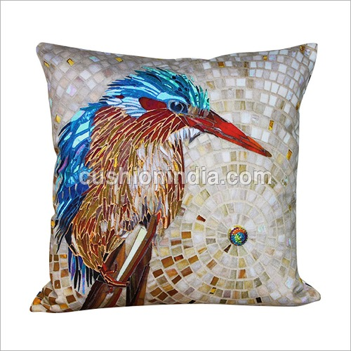 Bird Mosaic Art Printed Cotton Cushion Cover