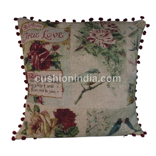 French Art Printed Cotton - Linen  Cushion Cover