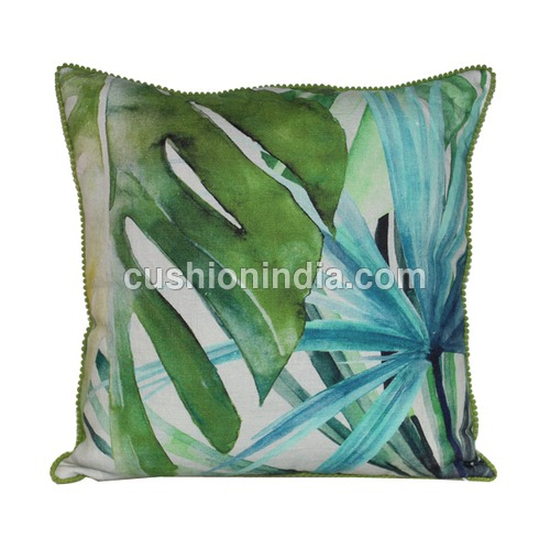Palm Leaf Sea theme Printed Cotton Cushion Cover