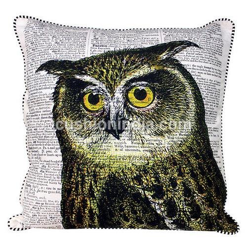 OWL theme Newspaper Art Print Cotton Cushion Cover