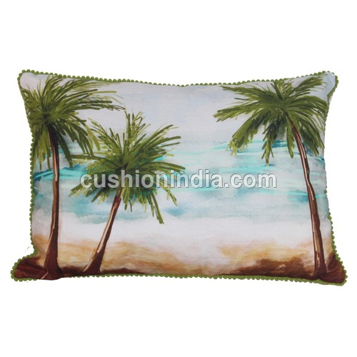 Palm Tree  Sea  Theme Art  Printed  Cushion