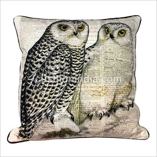 Owl & News Paper Art Printed Cotton Cushion