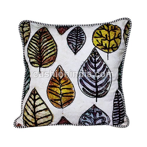 LEAF  Art  Embroidered  Cotton  Cushion Cover