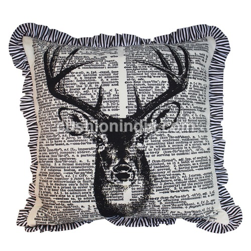 News Paper Art Printed Cotton Cushion Cover