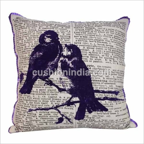 Bird & News Paper Art Printed Cotton Cushion