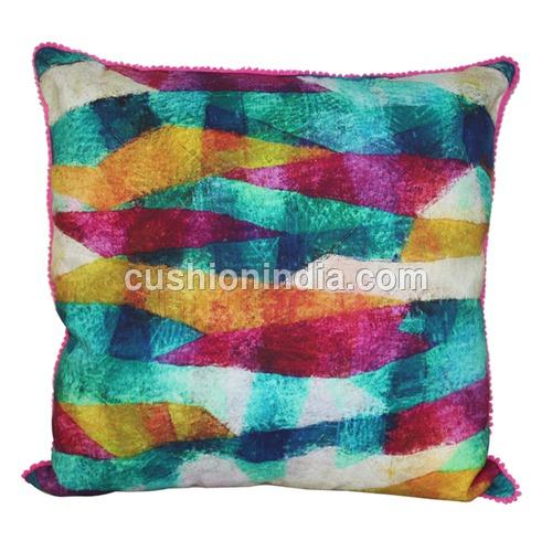 Geometric Art Printed Water Colour Cotton Cushion