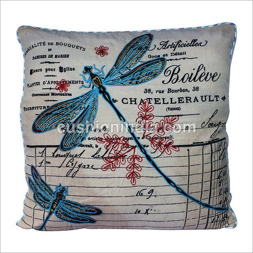 BEE French Art Thread  Embroidered  Cotton Cushion