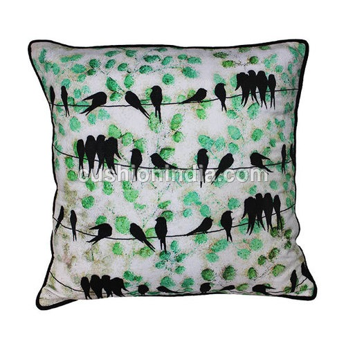 BIRDS ON  WIRE Theme Designer Embroidered  Cushion