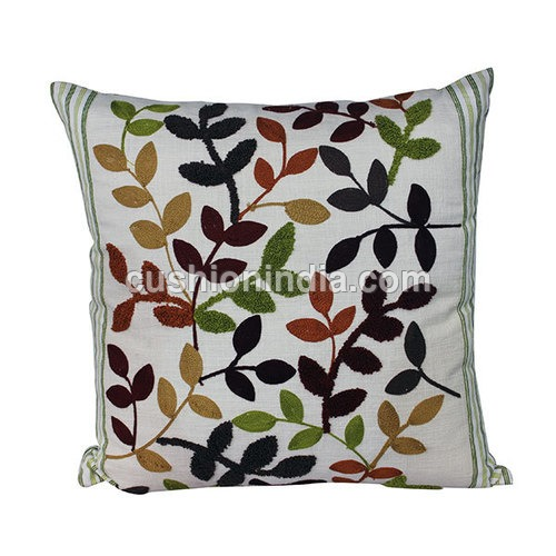 LEAF  Embroidered  Cotton  Cushion  Cover