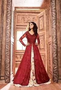Red Exclusive Georgette Lehenga Style Suit