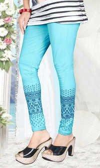 Sky Blue Color Printed Leggings
