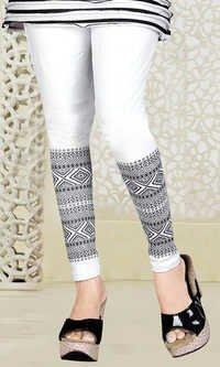 White Bottom Print Lycra Legging