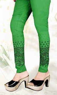 Printed Cotton Lycra Green Leggings