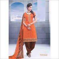 Designer Orange Patiyala Suit