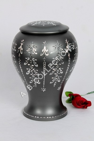 METAL BLACK SILVER ENGRAVED  CREMATION URN
