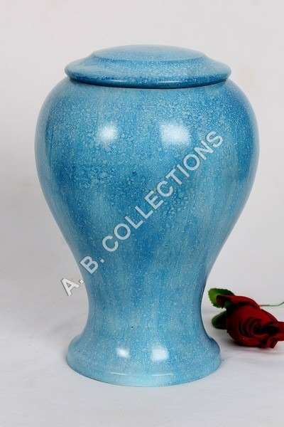 BLUE DESIGNER CREMATION URN