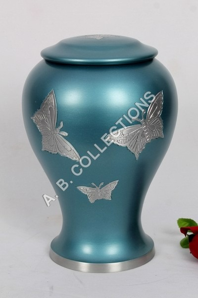 METAL BUTTERFLY SILVER ENGRAVED URN