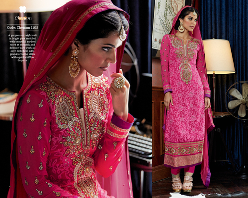 Fancy chiffon duppta weeding wear suit