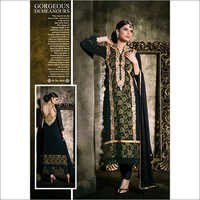 Full Black Color Suit With Embroidery
