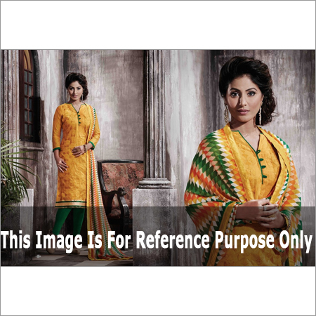 Yellow Printed Chanderi Suit