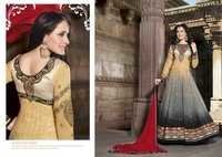 Shyna Creamy black Fully Embroidered Anarkali Suit