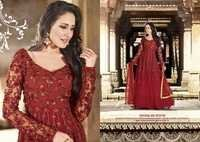 Shyna Red Fully Embroidered Anarkali Suit