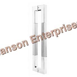 Silver Glass Door Square Handle