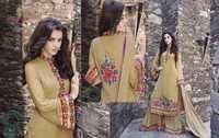 Designer Straight Cut Aari Work on Bottom Wtih Chiffon Duppata Suit