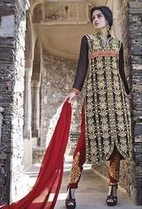 Black And Red Fully Embroidered Straight Suit