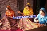 Punjabi Wedding Phulkari Lady Statues