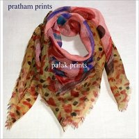 Printed Wool Square Scarf