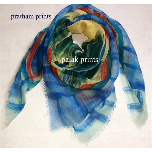 Wool Hand Print Square Scarves