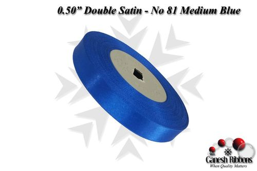Double Satin Ribbons - Medium Blue