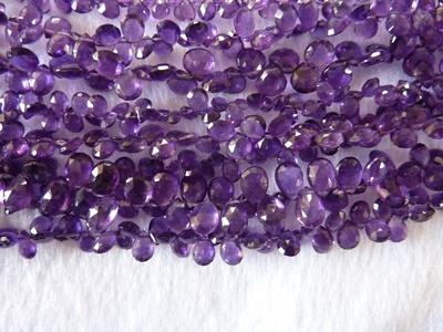 African Amethyst Briolite Tear Drops Beads