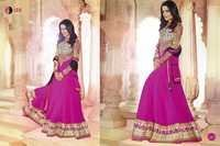 Full Round Blue Anarkali Lace Embro Suit