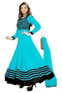 Full Round Sky Blue Anarkali Lace Embro Suit