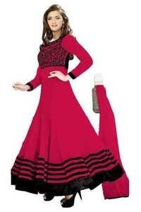 Full Round Pink Anarkali Lace Embro Suit