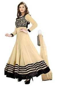 Full Round Creamy Anarkali Lace Embro Suit