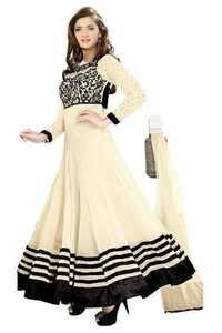 Full Round Whity Anarkali Lace Embro Suit
