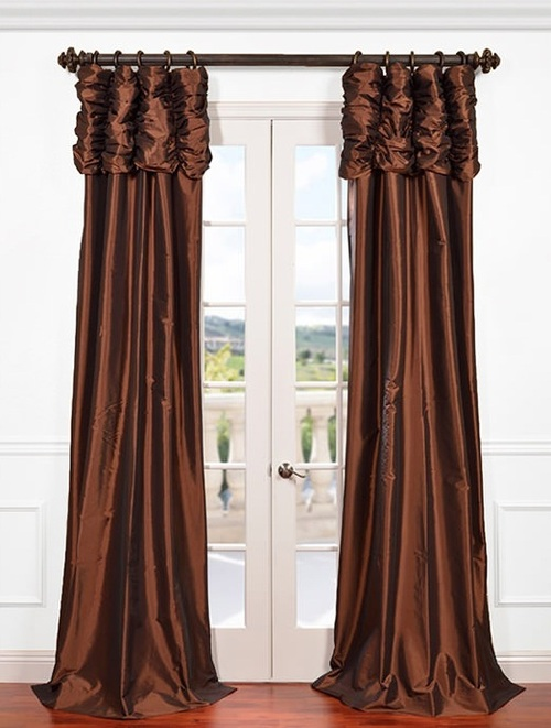Ruched pleated silk curtain