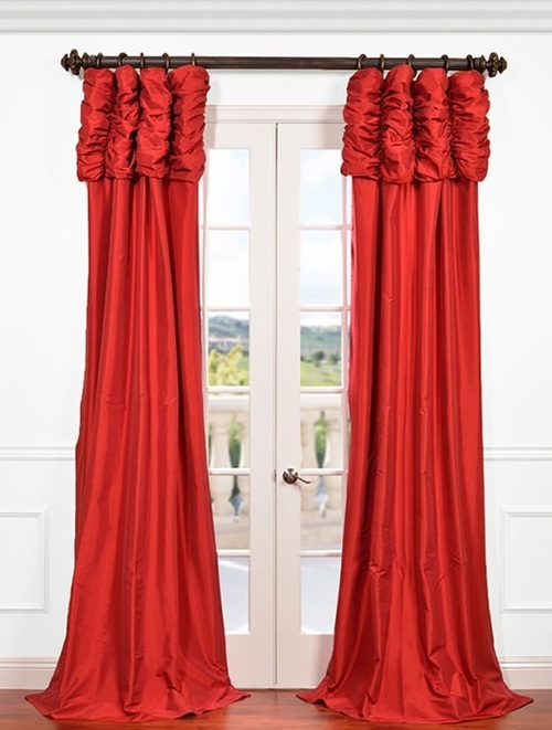 Red  Ruched pleated silk curtain